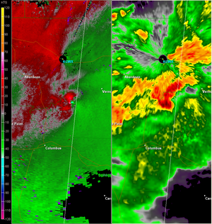 January 2008 tornado outbreak - NEXRAD view of a supercell producing an EF3 tornado near Caledonia, Mississippi, displaying relative velocity on the left, and base reflectivity on the right.  (Courtesy of NWS Jackson, Mississippi)