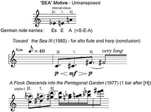 "Toru Takemitsu - Example 5. Various examples of Takemitsu's S-E-A motive, derived from the German spelling of the notes E♭, E, A (""Es-E-A"")."