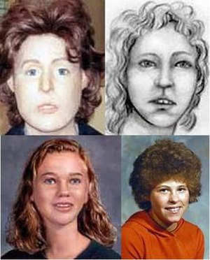 Murder of Tammy Vincent - Reconstructions of Vincent prior to her identification compared with an actual photograph (bottom right)