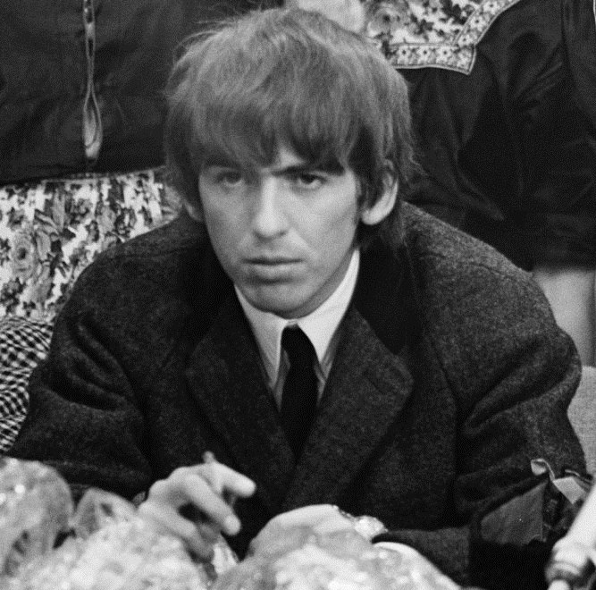 The Beatles arrive at Schiphol Airport 1964-06-05 - George Harrison 916-5132 cropped