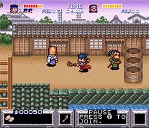 The Legend of the Mystical Ninja - Goemon fighting on the first level