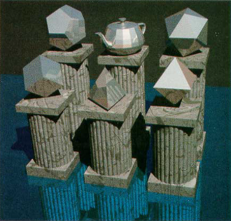 """Utah teapot - """"The Six Platonic Solids"""", an image which includes the Utah teapot as among the standard Platonic solids"""