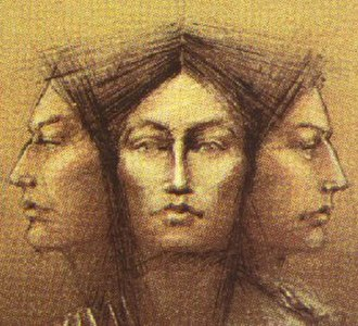 "Molly Brant - ""The Three Faces of Molly Brant"" (Iroquois, European, Loyalist): 1986 design used by Canada Post in a commemorative postage stamp."