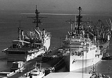 USS LaSalle and USS Coronado in Bahrain in 1980.