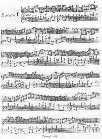 Handel solo sonatas (Walsh) - Page 1 of Walsh's 1732 publication.