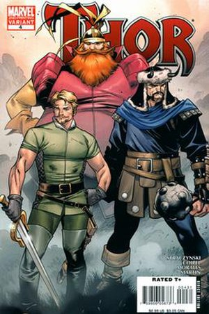 Fandral - Fandral the Dashing (left) of the Warriors Three. Art by Oliver Coipel.