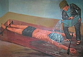 Painting of waterboarding at Cambodia's Tuol Sleng Genocide Museum, by former prison inmate Vann Nath.