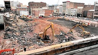 Hess's - The remains of the former Hess Brothers Department Store after being torn down in October 2000.