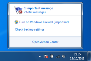 Windows 7 - When the Action Center flag is clicked on, it lists all security and maintenance issues in a small popup window