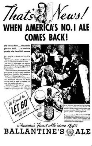 P. Ballantine and Sons Brewing Company - An article announcing the return of Ballantine Ale just after the prohibition was lifted.