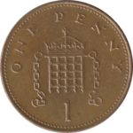 A British penny coin (valued at 1/100 of a pound). Officially known as one penny.