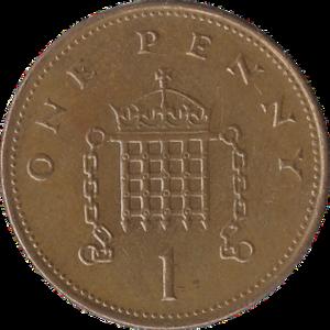 Penny (British decimal coin) - Original reverse: 1971–2008