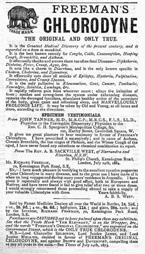 Chlorodyne - 1891 advertisement for a rival brand of Chlorodyne