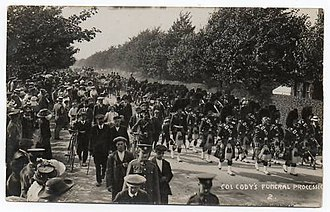 Samuel Franklin Cody - Gale and Polden postcard of Cody's funeral procession on 11 August 1913