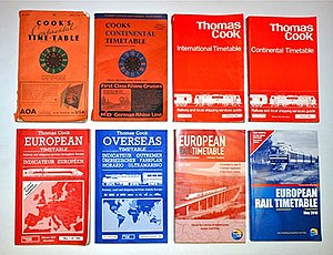 Thomas Cook European Timetable - Several Continental/European Timetable covers, along with one Overseas Timetable cover.  A graphic of a 24-hour clock was part of the cover design from December 1919 through 1975. The final Thomas Cook iteration is at lower right.