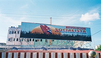 Communist Party of Cuba - A billboard in Havana promoting the ongoing socialist revolution