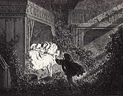 """""""Reclining upon a bed was a princess of radiant beauty."""" Illustration by Gustave Dore."""