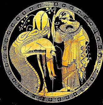 Aegis - Athena's aegis, bearing the Gorgon, here resembles closely the skin of the great serpent who guards the golden fleece (regurgitating Jason); cup by Douris, Classical Greece, early fifth century BC—Vatican Museums