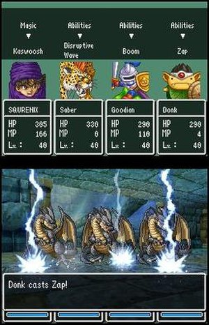 Dragon Quest V - The DS version uses both screens to depict a battle.