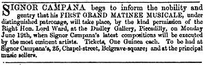 "Fabio Campana - Advertisement for Campana's first ""Grand Matinee Musicale"" concert, held in London on 19 June 1854"