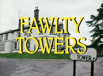 "Fawlty Towers - Series title card. The ""Fawlty Towers"" sign varied between episodes."