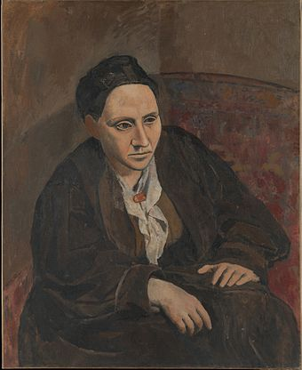 "Portrait of Gertrude Stein, 1906, Metropolitan Museum of Art, New York City. When someone commented that Stein did not look like her portrait, Picasso replied, ""She will"". GertrudeStein.JPG"
