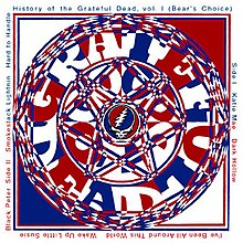 "A complex interlaced image of blue, red, and white centered around the Grateful Dead ""Steal Your Face"" skull logo"
