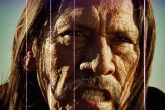 "Grindhouse (film) - The intentionally ""aged"" look of the film, as seen in the trailer Machete."