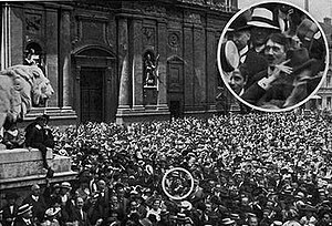 Heinrich Hoffmann (photographer) - Hoffmann photograph supposedly showing Hitler celebrating the outbreak of World War I in the Odeonsplatz in Munich. The authenticity of the photograph is disputed.