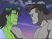 Image of Rick Jones as a teen Hulk and the Hulk in the 1996 The Incredible Hulk TV series