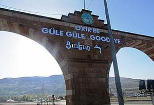 Racism in Turkey - The Armenian words of a 'Welcome' sign vandalized in Iğdır, Turkey