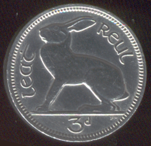 Threepence (Irish coin) - Image: Irish three pence coin
