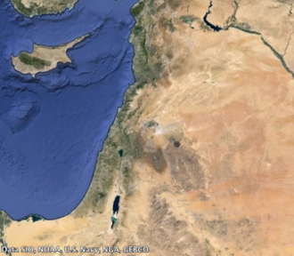 Levant - Satellite view of the Levant including Cyprus, Syria,  Israel, Jordan, Lebanon, Palestine and the Northern Sinai