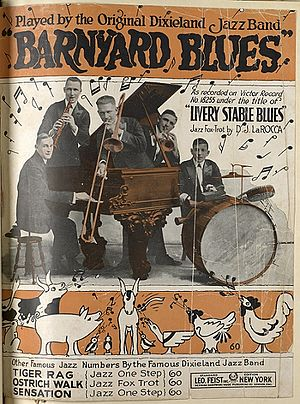 "Livery Stable Blues - The sheet music cover for the ODJB version under the alternate title ""Barnyard Blues"", Leo Feist, Inc., New York, copyright 1917."