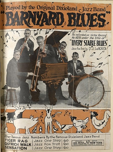 Livery Stable Blues Barnyard Blues ODJB 1917 Leo Feist New York