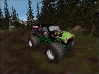 """Monster Truck Madness 2 - Grave Digger on """"The Heights"""" track."""