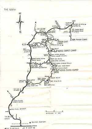 Nong Samet Refugee Camp - Map of Thai Border Refugee Camps, with roads and nearby Thai communities, distributed to aid workers by the American Refugee Committee in May 1984.
