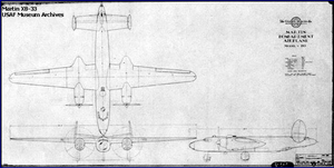Martin XB-33 Super Marauder - Schematic blueprint drawing of the XB-33.