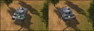 Men of War: Assault Squad - An example of a Tiger I angling away to deflect a shot. On the left, the hit indicator is green, showing a high chance of penetration, while the right shows a low chance.