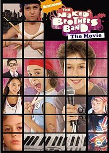 A rectangle split into squares, showing movie logo and images of a boy holding up drumsticks, a boy dressed as the band manager, a girl in a white shirt, a boy with a microphone, and a boy with a US flag bandana and a shirt displaying a Union Jack. Most prominent is an image of two boys—one holding drumsticks and the other holding a microphone.