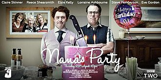 """Nana's Party - """"Nana's Party"""" episode poster, featuring (from left to right) Lorraine Ashbourne as Carol, Elsie Kelly as Maggie, Claire Skinner as Angela, Reece Shearsmith as Pat and Steve Pemberton as Jim."""