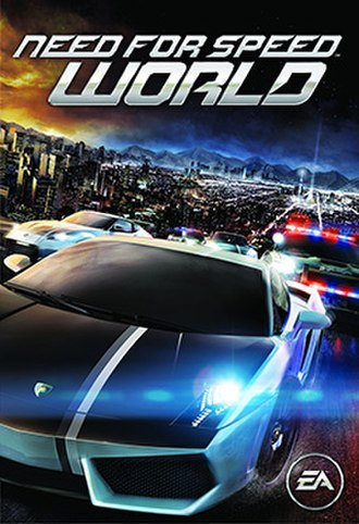 Need for Speed: World - Cover art featuring a Lamborghini Gallardo and a Nissan 370Z being chased by police
