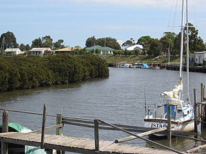 Port Franklin, Victoria - Banks of the Franklin River looking south towards Wilsons Promontory