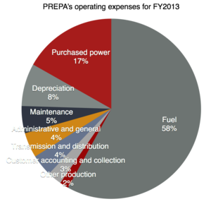 Puerto Rico Electric Power Authority - PREPA's operating expenses for FY2013 denote how fuel purchases take over 58% of the authority's operating expenses.