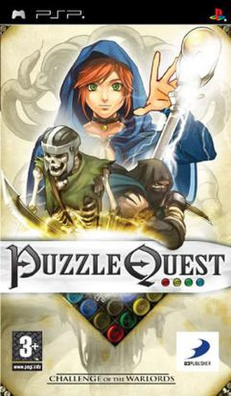 Puzzle Quest: Challenge of the Warlords - PlayStation Portable Europe box art.