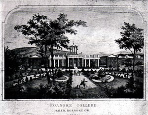 Roanoke College - Roanoke College during the late-19th century:  the John R. Turbyfill Front Quadrangle with (left to right) Miller Hall, The Administration Building, and Trout Hall, all listed on the National Register of Historic Places