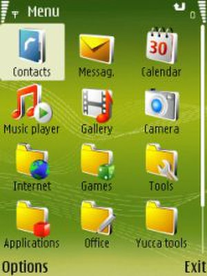 Symbian - Main menu of the original S60v3 on a Nokia N73
