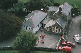 St Mabyn Church of England Primary School - View of St Mabyn Primary School from the church tower
