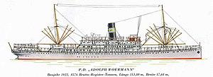 SS Adolph Woermann - Image: Ss adolph woermann seitenriß1
