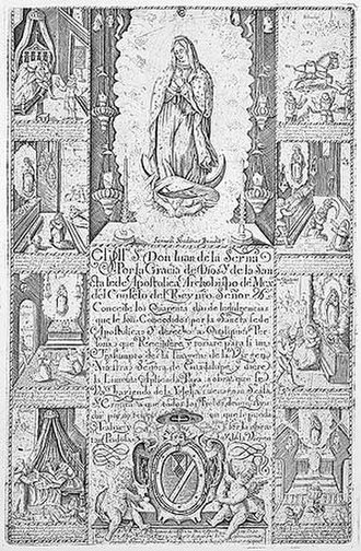 Indulgence - A 1948 reproduction of the Stradanus engraving, a 17th-century certificate for indulgences, in return for cash contributions to build a shrine.